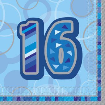 Pack of 16 Blue Glitz 16th Birthday Napkins -Sweet 16 Themed Party Tableware Ideas  sc 1 st  Pinterest & Pack of 16 Blue Glitz 16th Birthday Napkins -Sweet 16 Themed Party ...