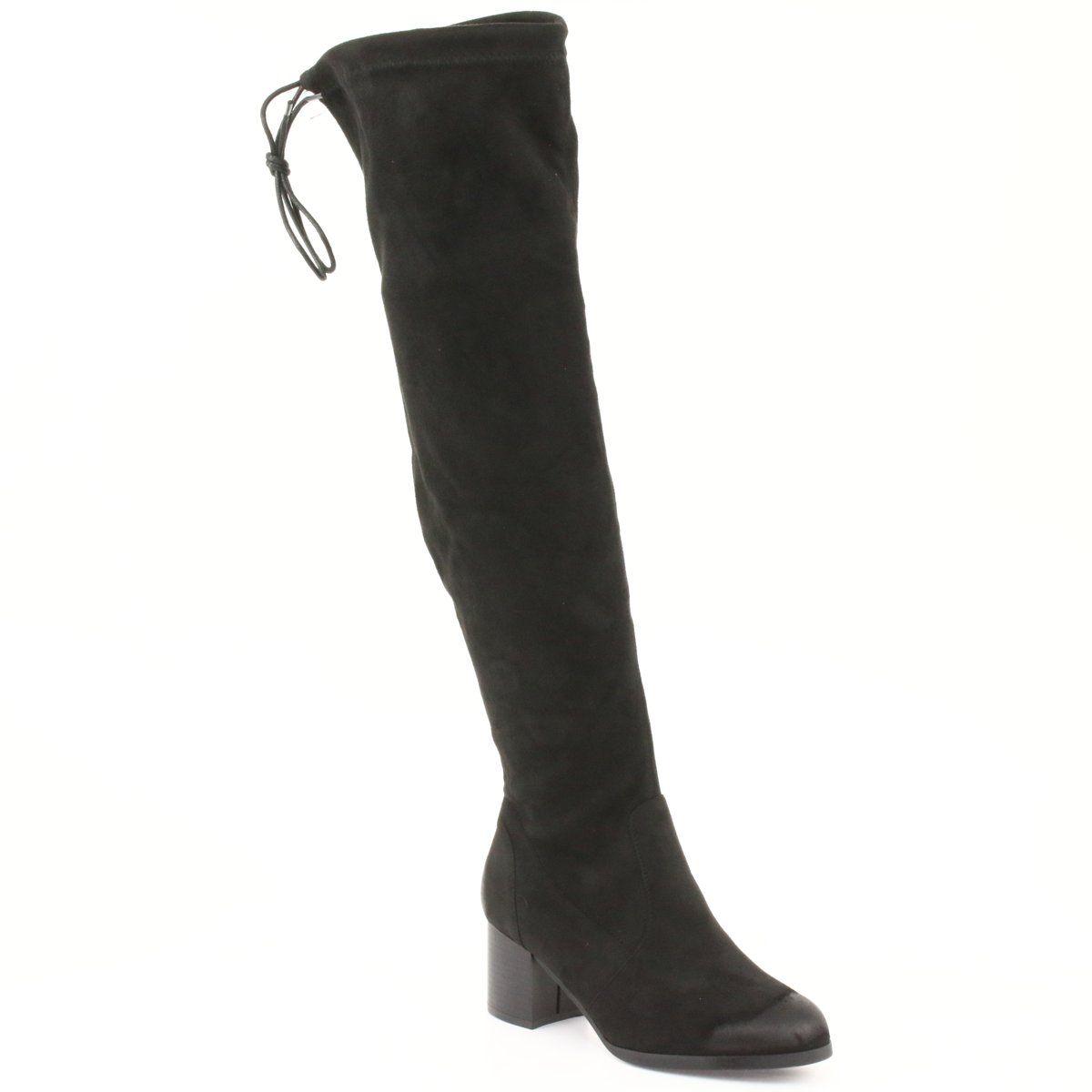 Daszynski Kozaki Zamszowe Za Kolano Czarne 1715 Boots Women S Over The Knee Boots Black Suede Boots