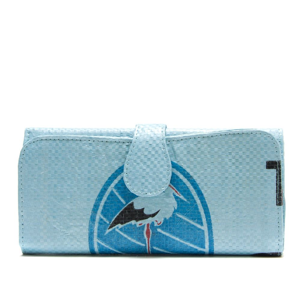 Recycled rice bag purse - Recycled Rice Bag Wallet Blue Handmade In Cambodia