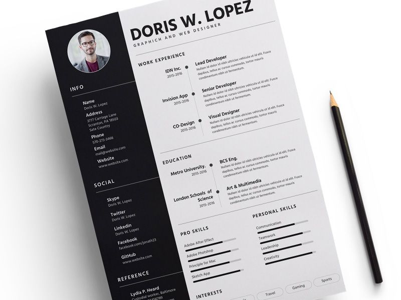 Resume Template - Free sketch resource for download #sketchhint