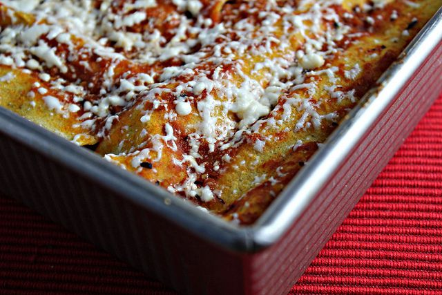 Red Chile Enchiladas with Chicken and Melted Cheese, served with Mashed Plantains
