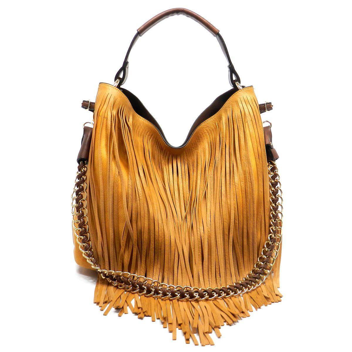 14265af56524 Bag) Fringe 2-1 Shoulder Bag in Mustard