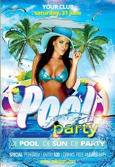 Best Summer Poolparty Flyer Print Templates  HttpWww