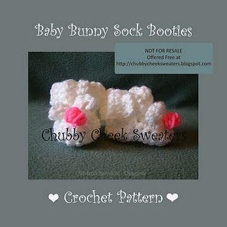 Free Crochet Baby Bunny Sock Booties Pattern.