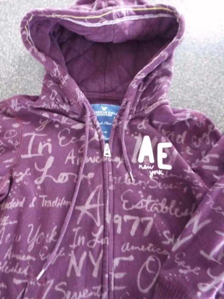 American Eagle Hoodie Sweatshirt Womens size M, Wine Purple, Full zipper #AmericanEagleOutfitters #Hoodie