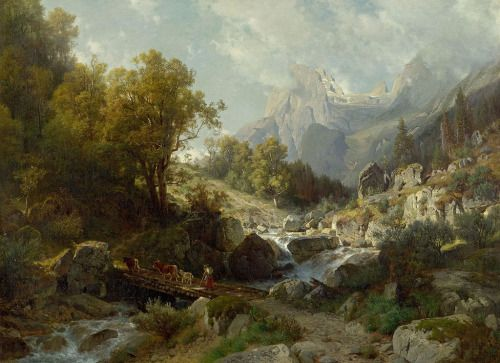 illuminate-eliminate:  Motiv aus der Ramsau bei Berchtesgaden by Johann Gottfried Steffan. Oil on Canvas, 1874.