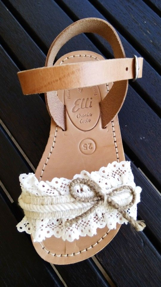 c226a2d4cd3 Handmade leather sandals with lace designed by Elli lyraraki ...