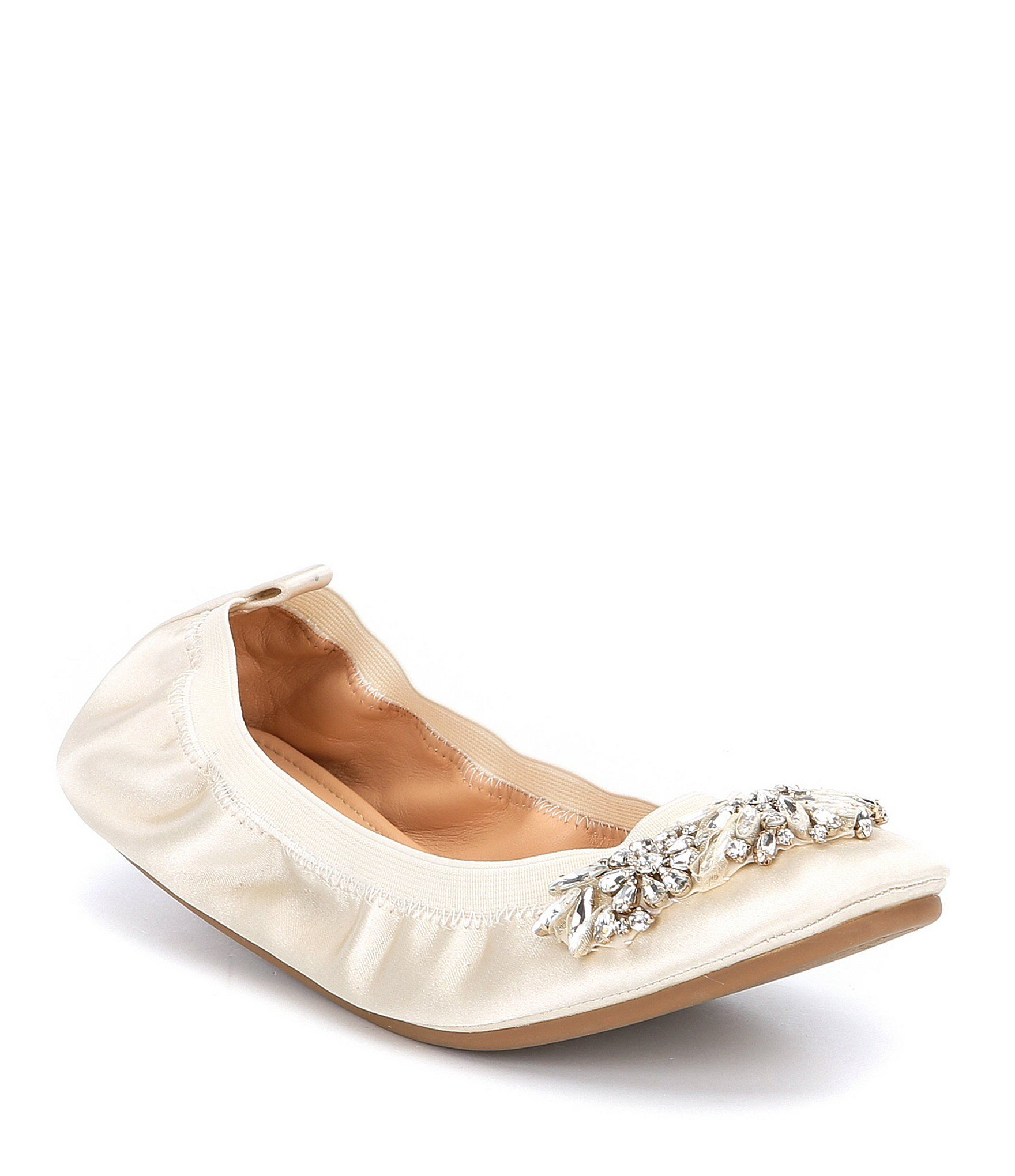 Badgley Mischka Sasha Satin Jeweled Ballet Flats 6oEfFM3