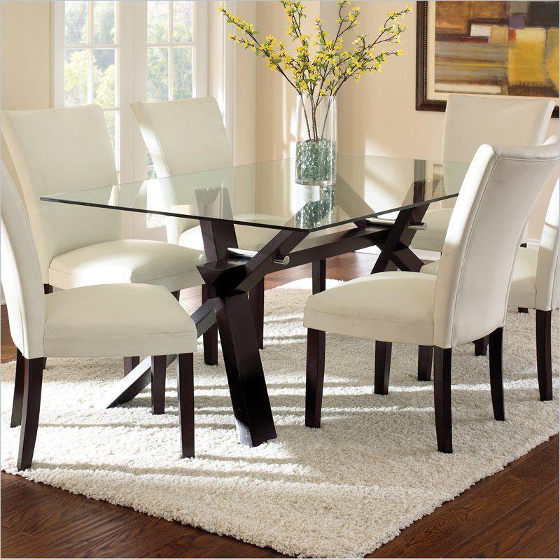 Ashley Furniture Delmar De: Berkley Dining Table In Espresso With Clear Glass Top