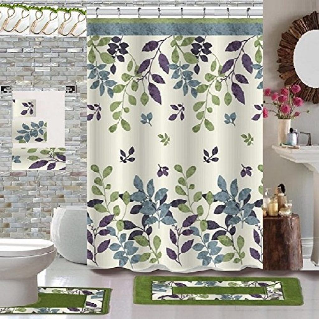 Bathroom Sets Shower Curtain Rugs   Green Bathroom Sets With