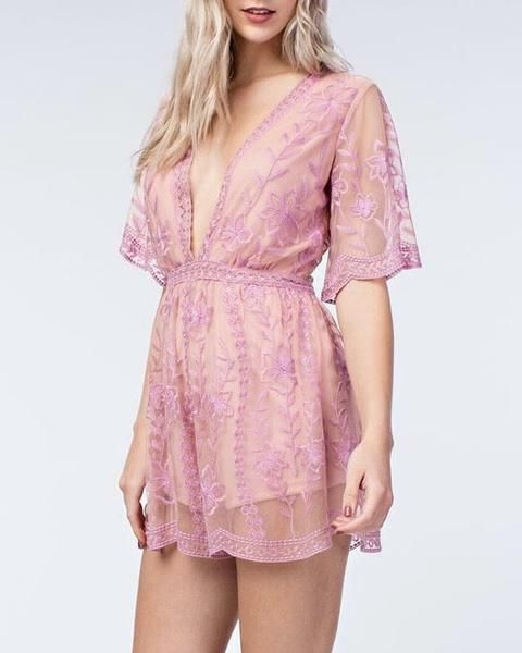 93a920ed9a6 NWT Honey Punch Embroidered Lace Romper in Blush Lavender sz M ...