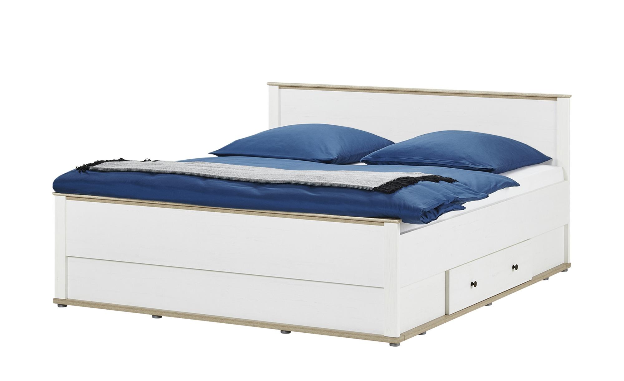 Doppelbett 180x200 Weiß Lärcheeiche Optik Carmen