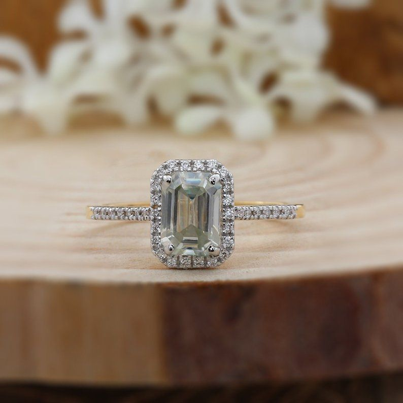 Low Cost 10k Gold 1 59 Ct White Emerald Moissanite Ring 7mm Etsy Wedding Rings Engagement Etsy Gold Ring Solid Gold Band