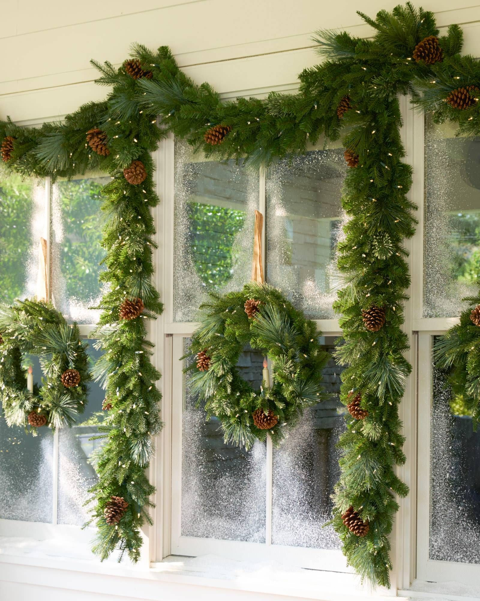 Image result for how to add pinecones to greenery garland dress up your porch and yard with balsam hills stunning collection of outdoor lit pinecone foliage mozeypictures Gallery
