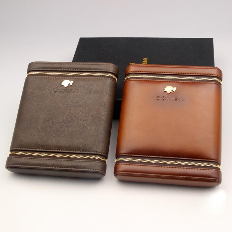 COHIBA Black Leather Spanish Cedar Lined Cigar Travel Holder Case 3 Tubes