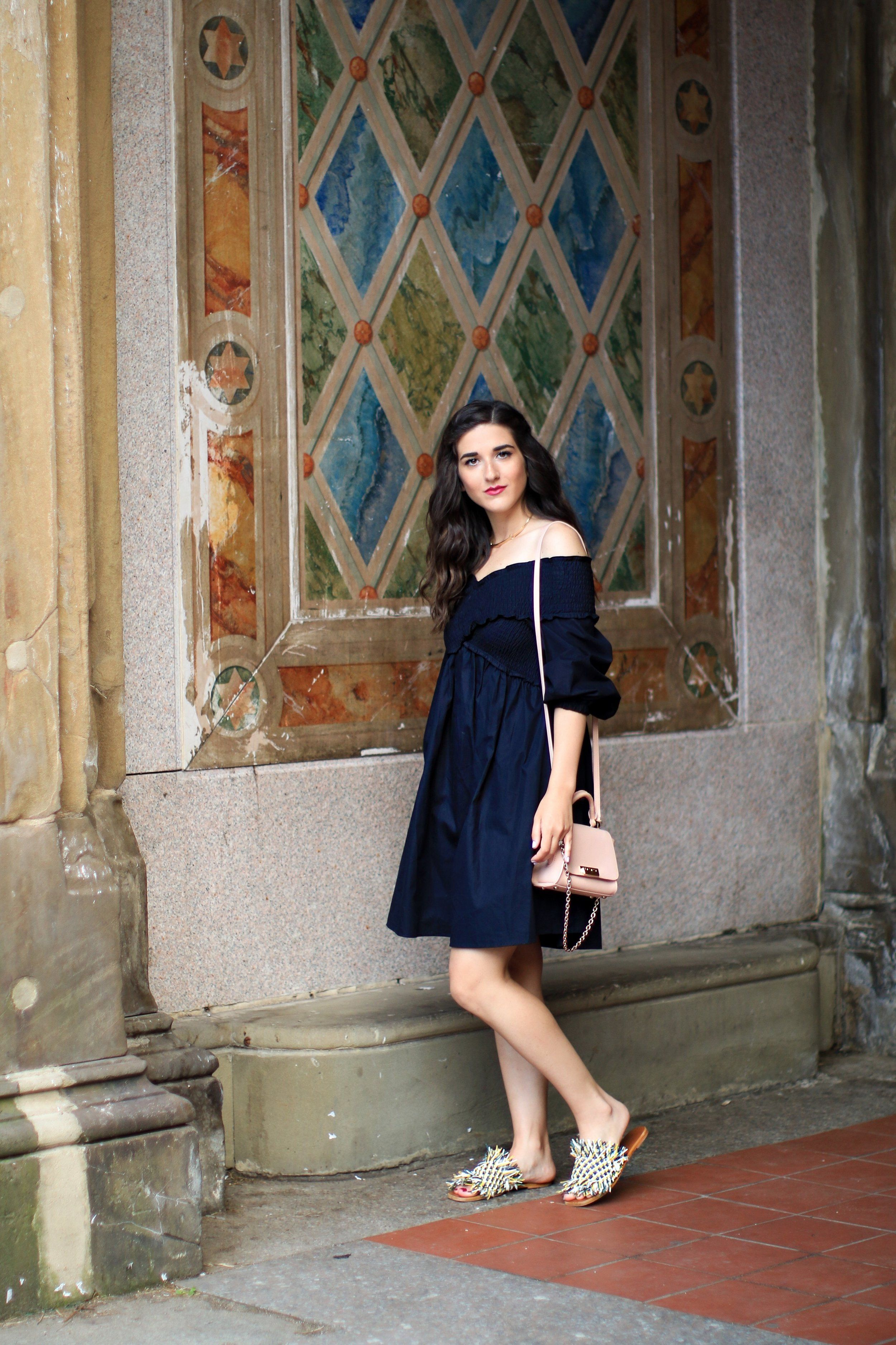 27 Blogging Tips For My 27th Birthday   Esther Santer Fashion Blog NYC Street Style Blogger Outfit OOTD Trendy Girl Women   Navy Dress Fringe Slides Pink Zac Posen Bag Cold Shoulders