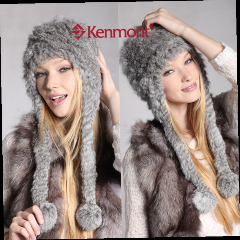 49.66$  Watch now - http://ali421.worldwells.pw/go.php?t=1587524635 - New Arrival Women Lady Grey Color Caps Winter Earflap Hats Hand Knit Rabbit Hair Fur Earflap Beanie For Valentines Gift 1243 49.66$