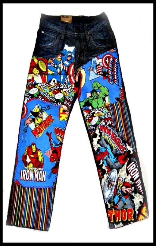 Marvel Comics patchwork jeans by 4getmeknot Wearable ⒶⓇⓉ