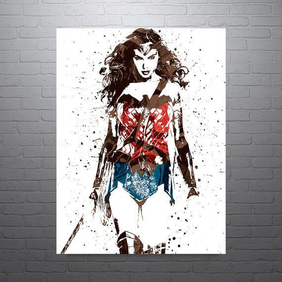 Wonder Woman Wall Art wonder woman batman v superman movie poster, art print, kids decor