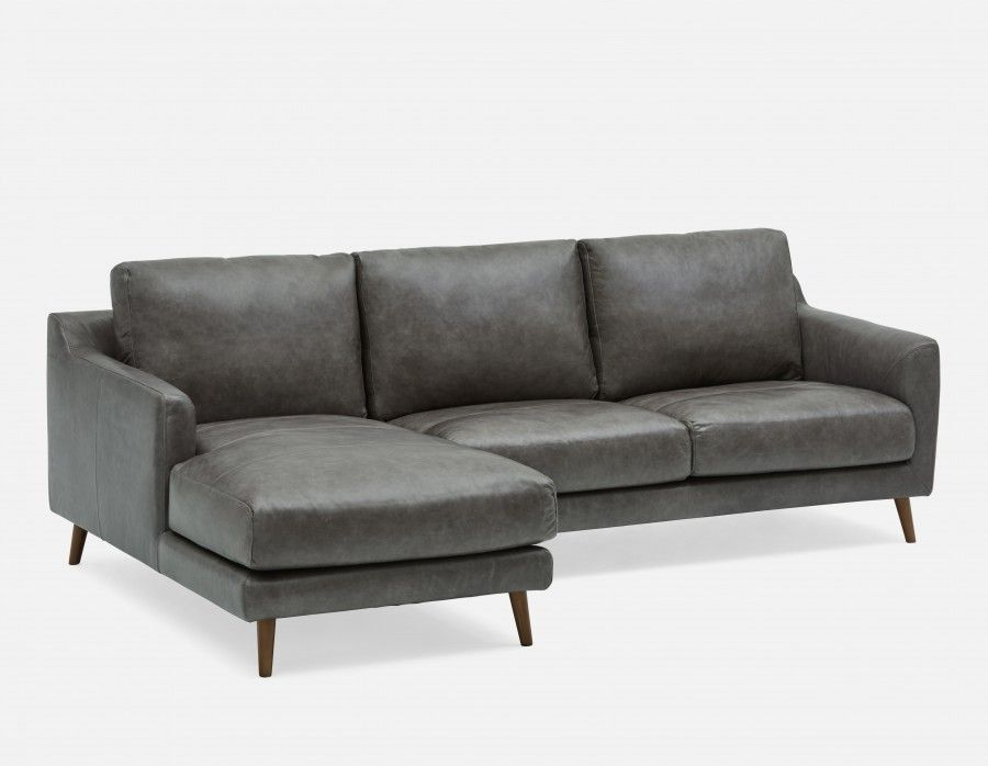 1699 Structube MAKER - 100 % All Leather Sectional sofa left - Grey : 100 leather sectional sofa - Sectionals, Sofas & Couches