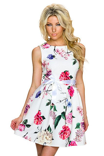 c26ac02205 Vestido corto elegante estampado floral multicolor vaporoso manga corta  cordón lazo