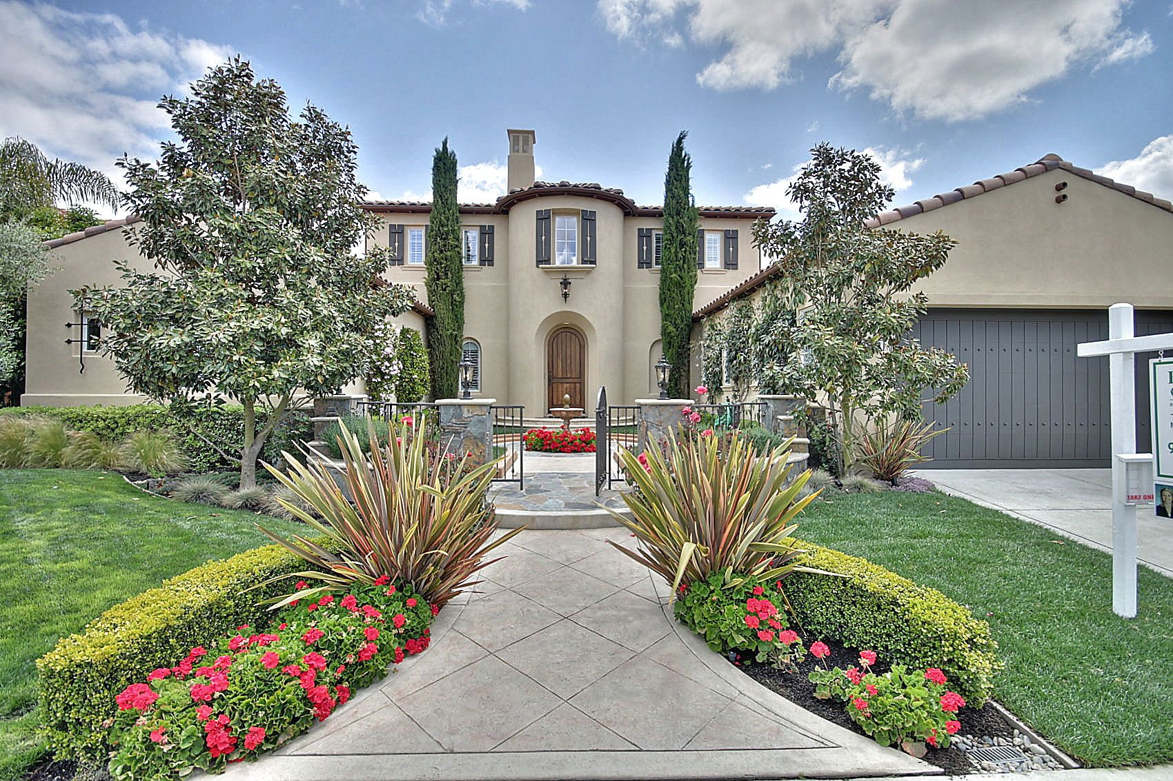 Luxurious Home High End Landscape Italian Cypress Trees