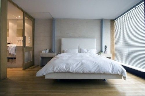 White Modern Bedroom With Attached Bathroom Loft Design Loft Living Master Bedroom Set