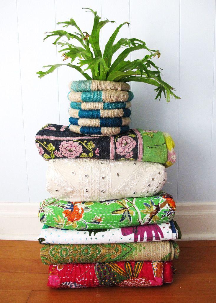 Kantha Floral Quilt - All Colors