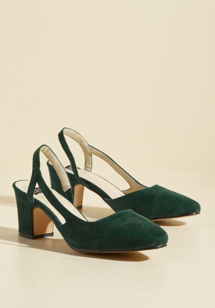 e2ca5104db56 You don t need anyone else to bring out the sass in your strut - just these  dark green heels! A ModCloth-exclusive style crafted with vegan faux-suede  ...