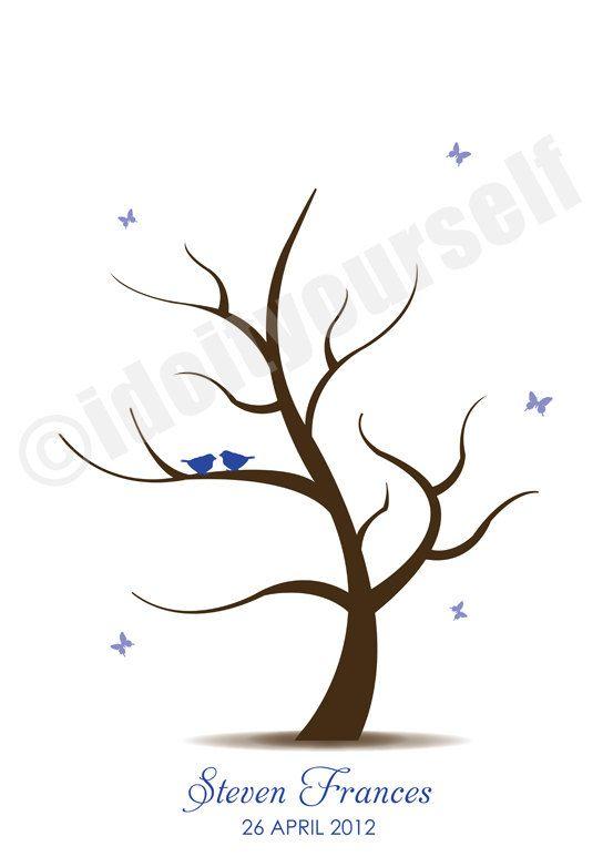 Flutterby Baby Fingerprint Guest Book Tree Printable By Idiyjr
