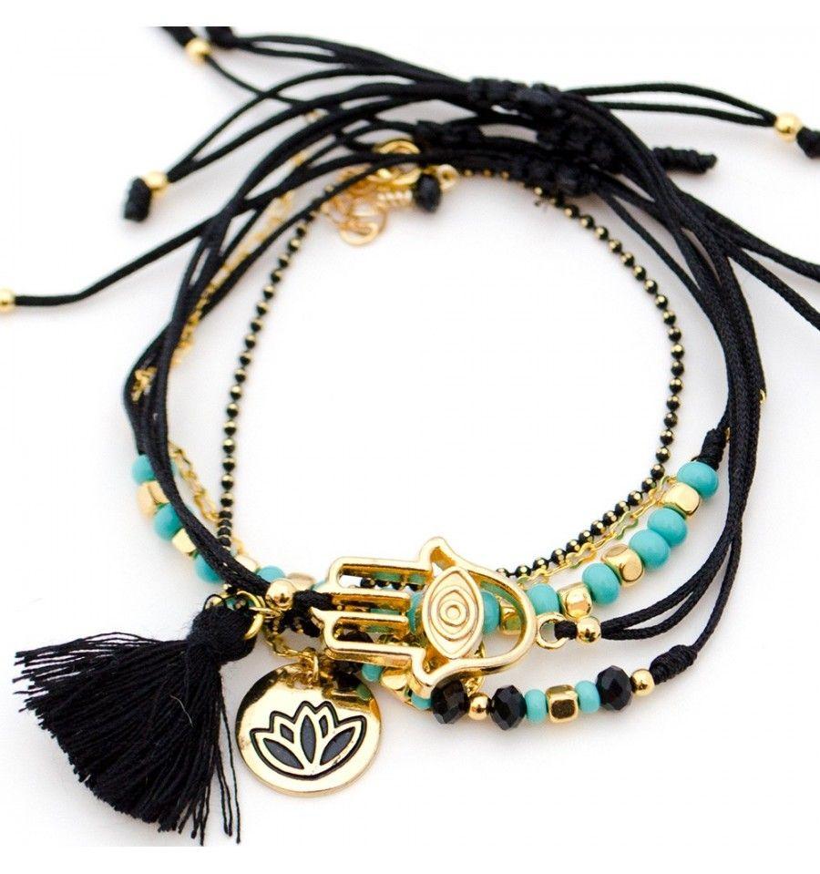 799ca02de995 Pulsera Hilo Negro Mano Hamsa Flor de Loto | bracelets | Pulseras de ...