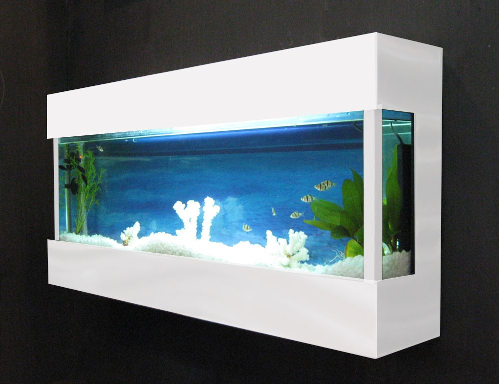 Fish Tank Wall Mounted Designer Wall Mounted Aquarium  Glass Fish Tank Fj2White  Fish .