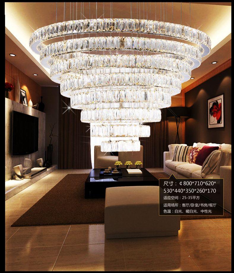 Modern Stainless Steel Ceiling Lamp Crystal Led Chandelier Fixture Crystal Lustre Led Light Sitting Room H Hotel Chandelier Led Chandelier Chandelier Fixtures