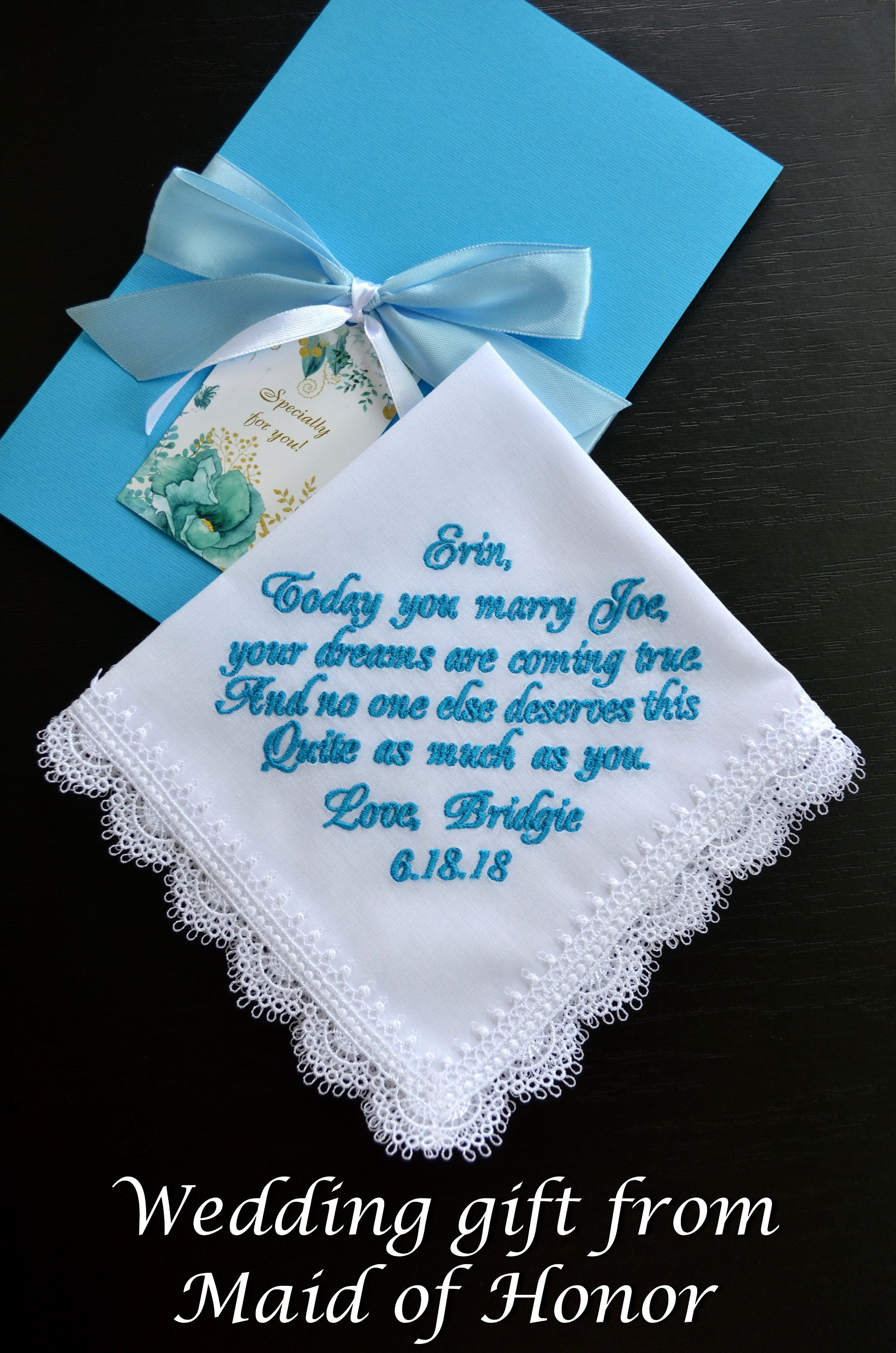 Embroidered wedding handkerchief for Bride from Maid of Honor Sister hanky Bridesmaid gift hankerchief Personalized Custom & Gift for bride from maid of honor Bride gift from bridesmaid ...