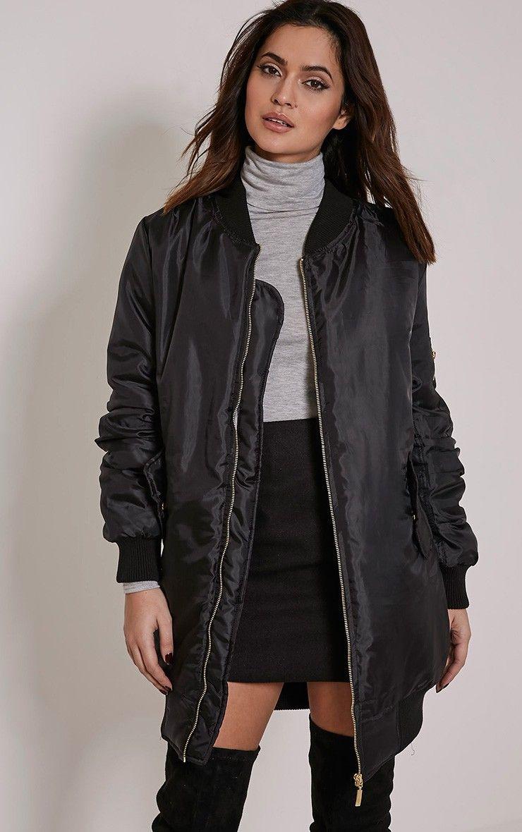 black-longline-bomber-jacket | Bomber Jacket | Pinterest