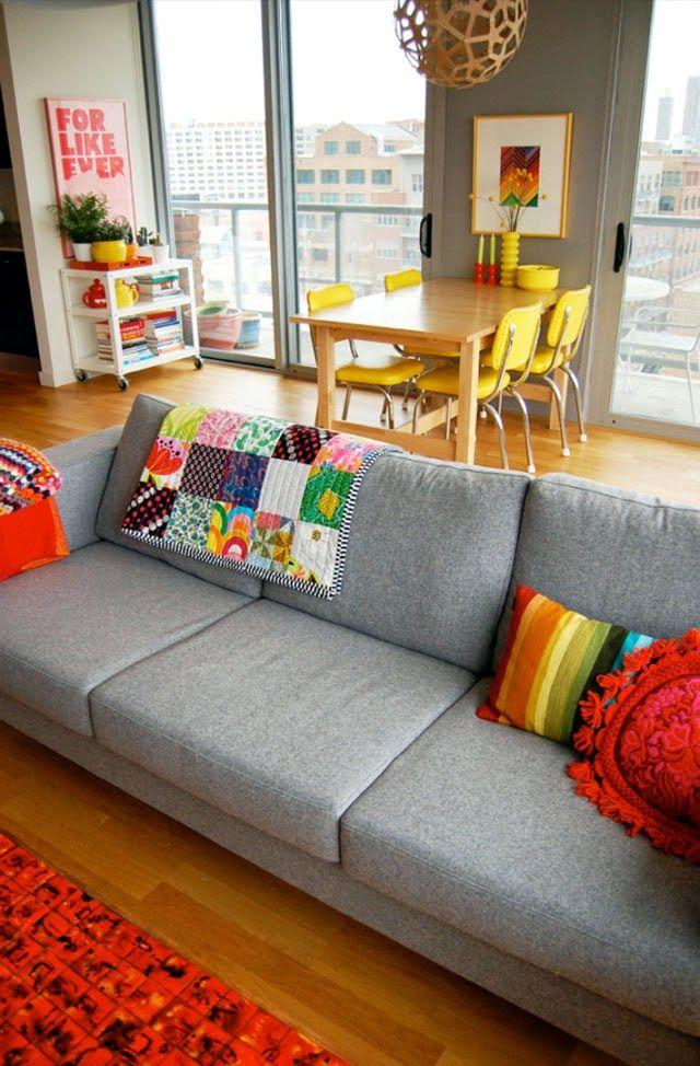 d5bfb3b06e572c Sofá cinza + almofadas coloridas: a dupla perfeita | Ideias ideias ...
