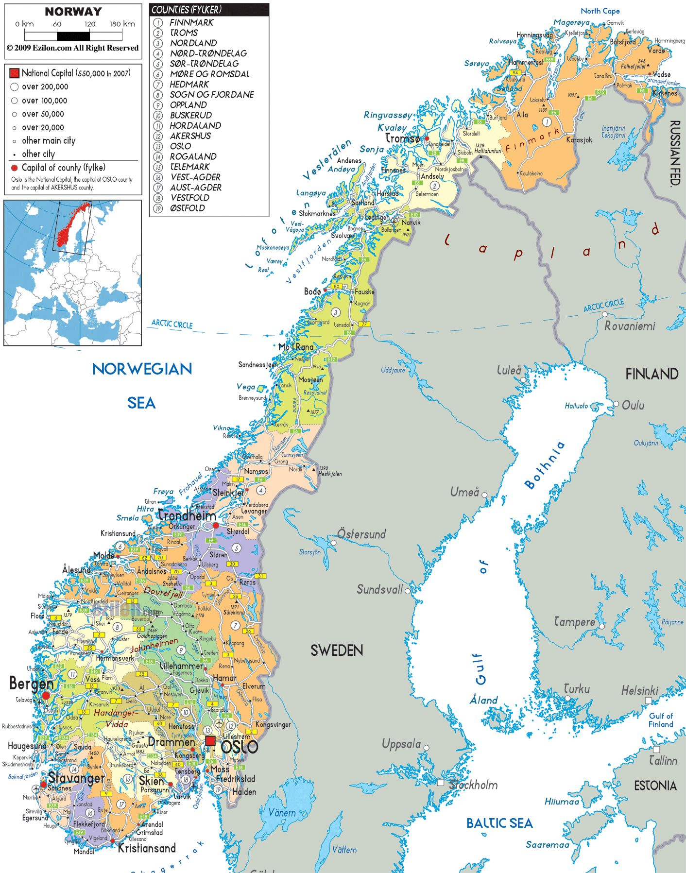 NORWAY And Administrative Map Of Norway With All Roads - Norway map mountains