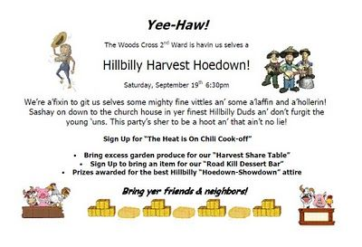 Hillbilly Harvest Hoedown Chili Cookoff Hoedown Relief