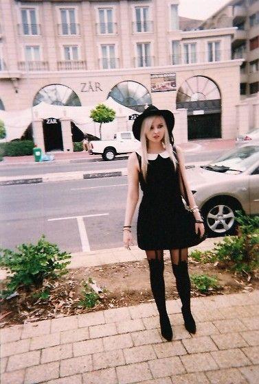 Cotton On Hat, Cotton On Peter Pan Collar Dress, House Of Holland Stockings, Zoom Kitten Heels, Sass Diva Bangles