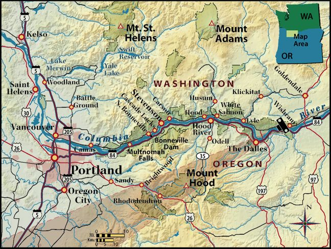 site location Columbia River cam shown on map Us