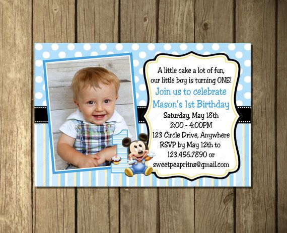 Mickey mouse baby 1st first birthday invitation or thank you card no mickey mouse baby 1st first birthday invitation by sweetpeaprintz filmwisefo Images