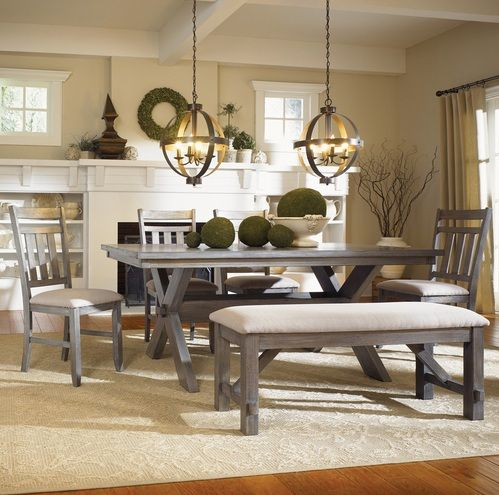How To Decorate Trestle Dining Room Table Home Interiors Dining Room Sets Farmhouse Dining Set Dining Set With Bench