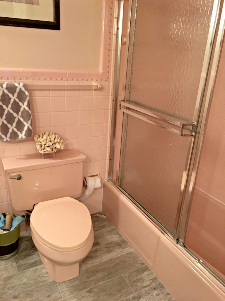 Ideas To Update Pink Or Dusty Rose Countertops Carpet Tile And More Pink Bathroom Tiles Pink Bathroom Bathroom Red