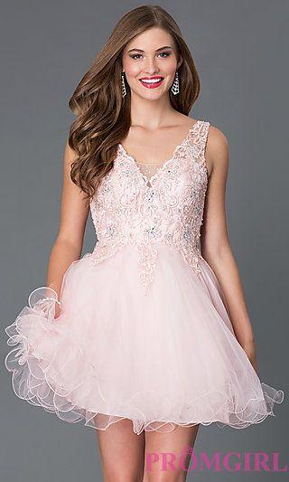 Short V-Neck Babydoll Dress 9348 by Mori Lee at PromGirl.com | Prom ...