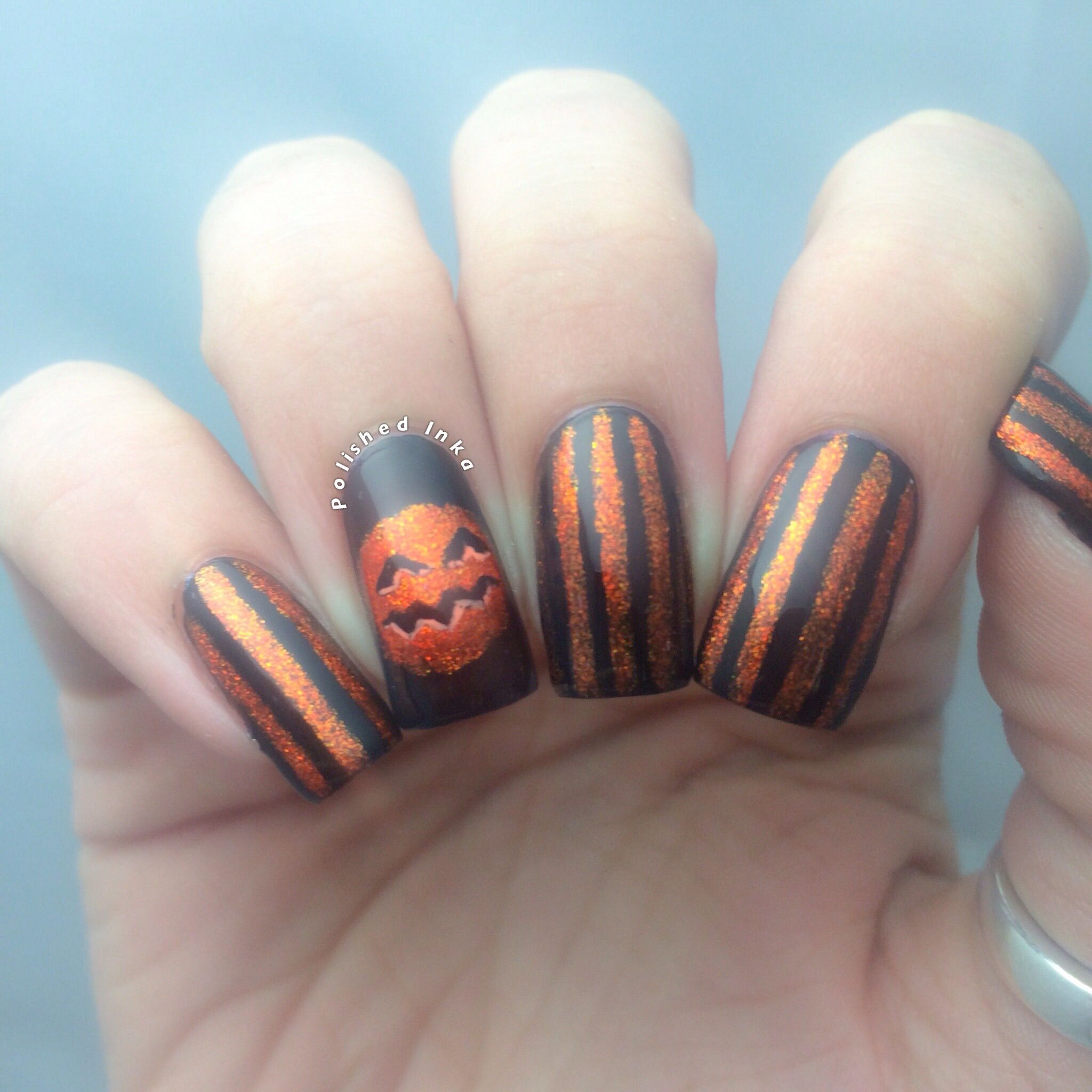 Polished Inka - Sparkly Pumpkin Halloween Nail Art | Hair ...