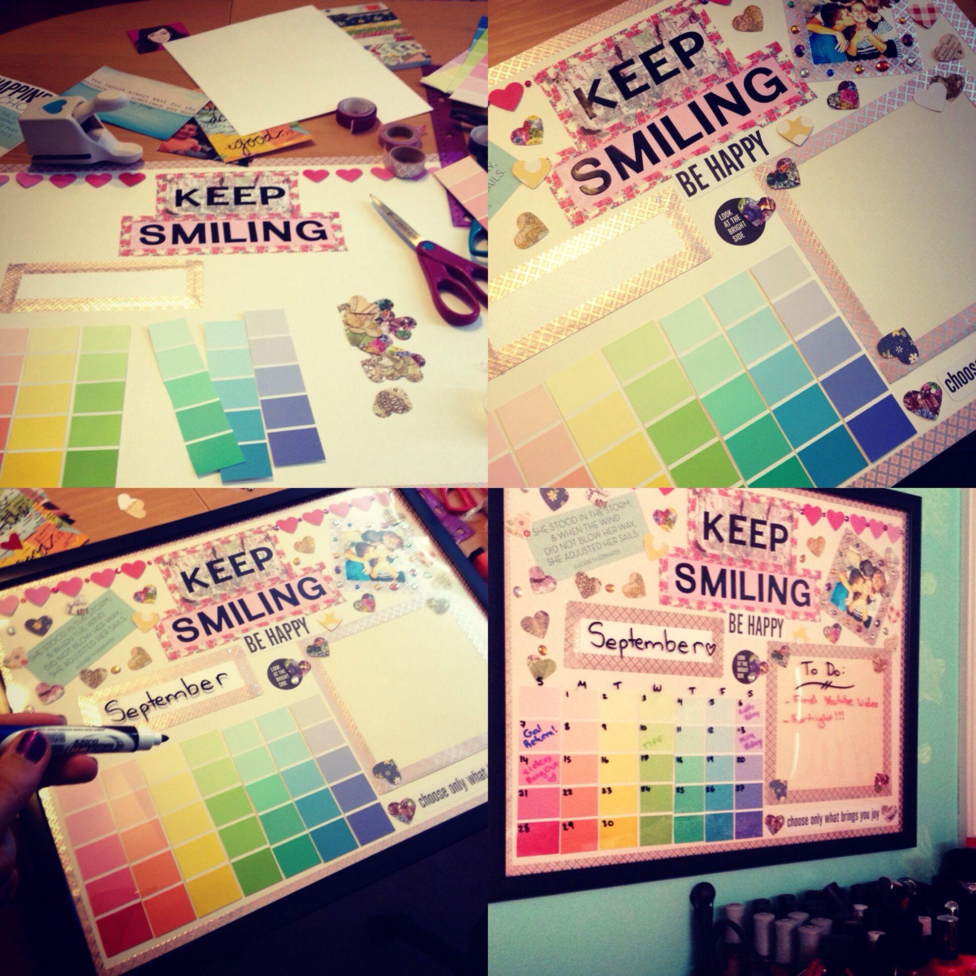 Diy Calendar Laurdiy : Dry erase custom wall calendar made with paint chips and