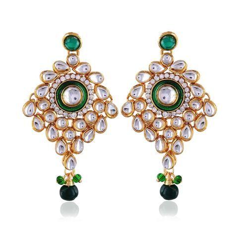 Green & Gold Jewellery Shop Chandelier Earring Designs | Indian ...