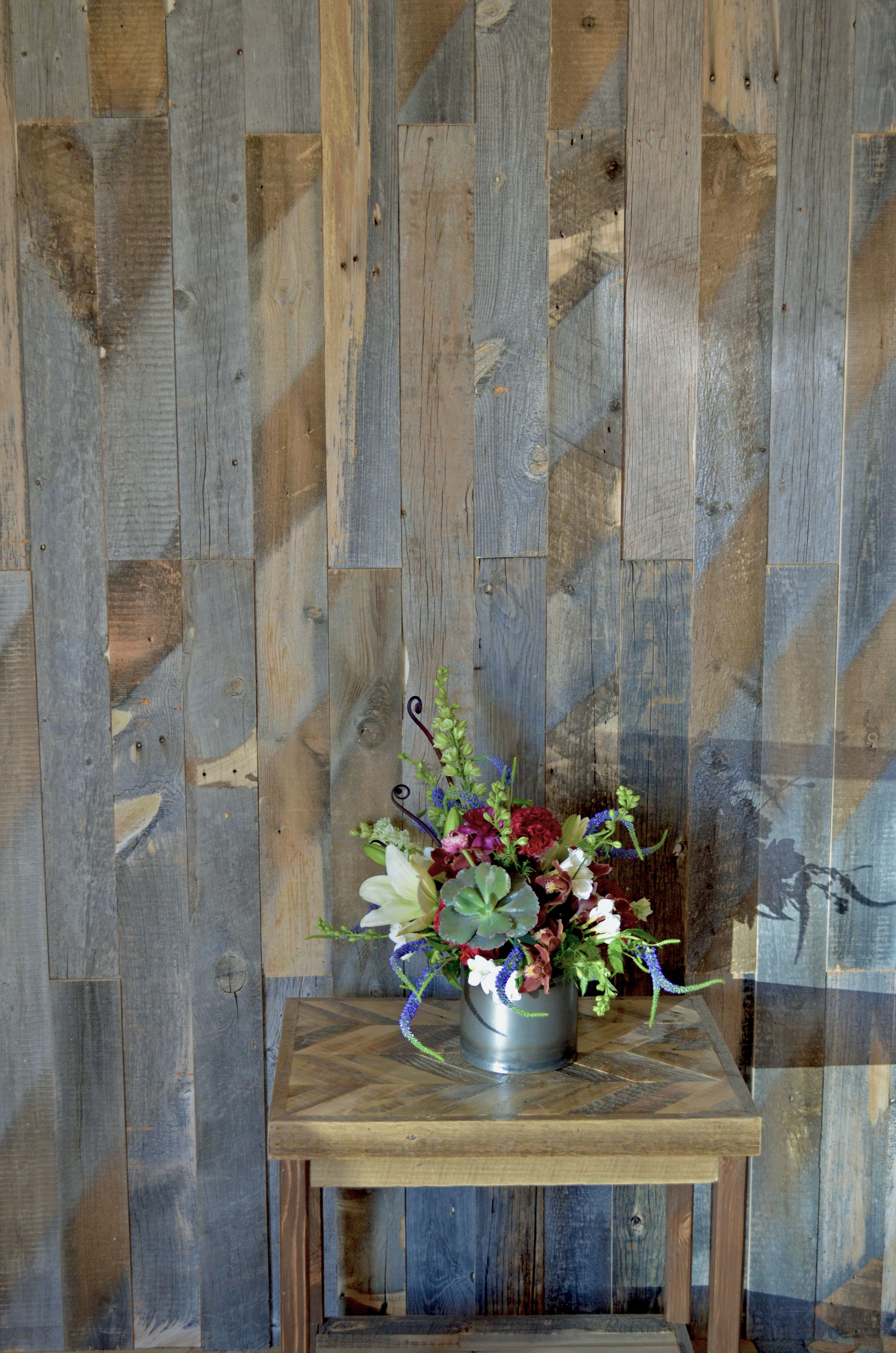 Vertical Wall Using Boards Of Different Thicknesses This Is Reclaimed Wood From Wyoming Snow Fences On In 2020 Reclaimed Wood Siding Wood Feature Wall Reclaimed Wood