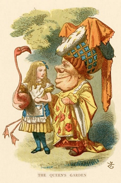 Illustrations by John Tenniel, 1865, Alice, The Queen's garden with flamingo (first publication).