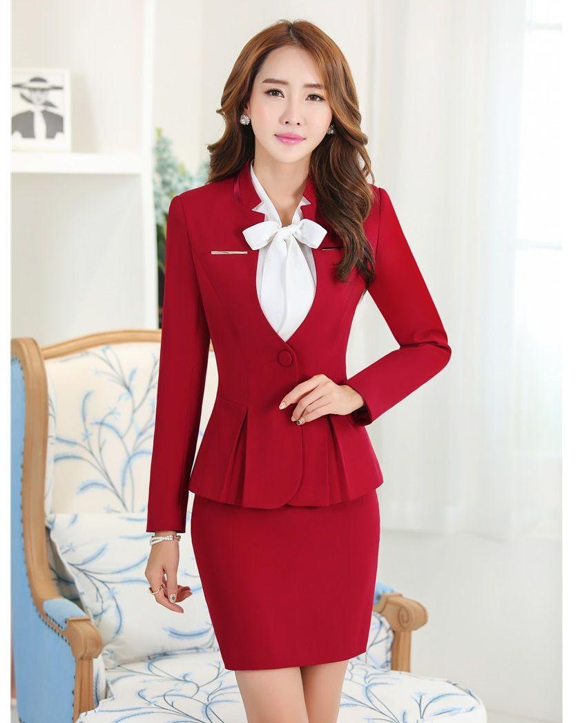 16e9a5f4095c Cheap Mujeres Elegantes Trajes de Falda formales Blazers y Chaqueta Para  Mujer Trajes de Negocios de